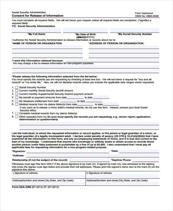 information release consent form template