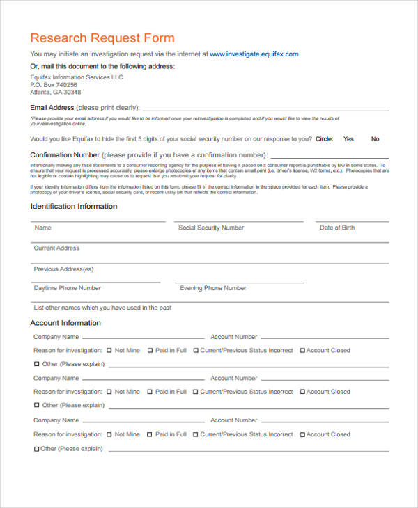 information research request form