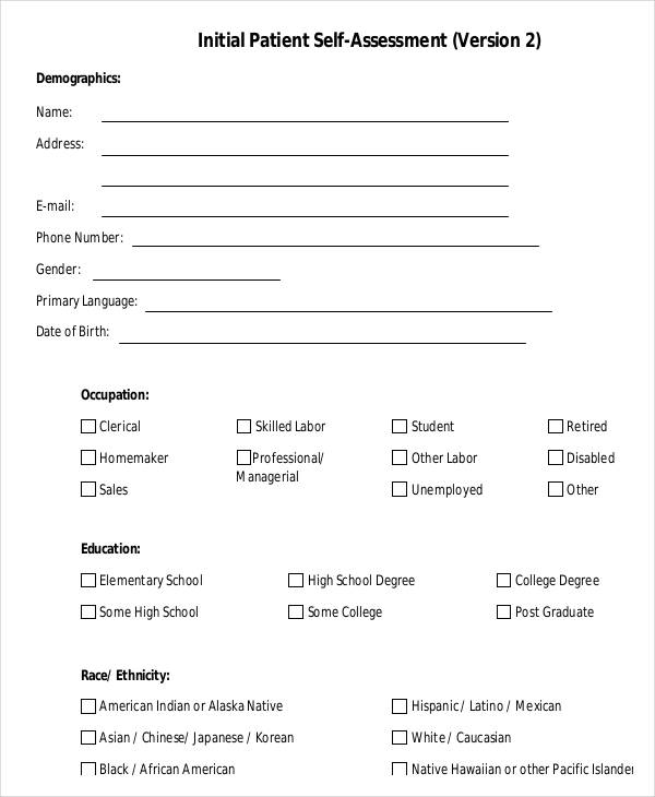 initial patient self assessment form