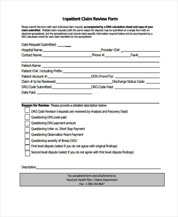 inpatient claim review form1