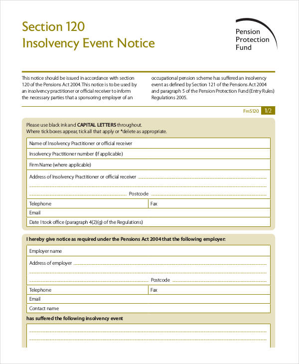 insolvency event notice form
