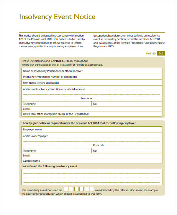 insolvency event notice form1