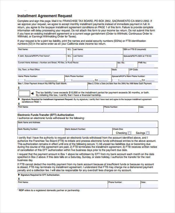 installment agreement request form