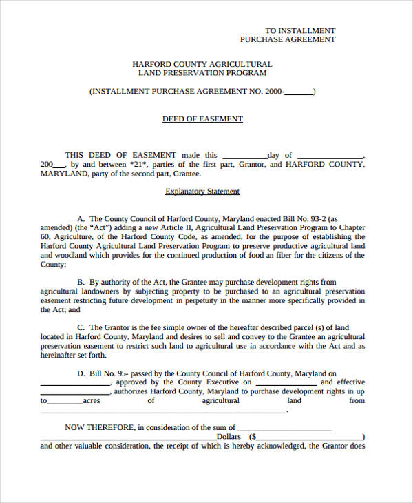 installment land purchase agreement form