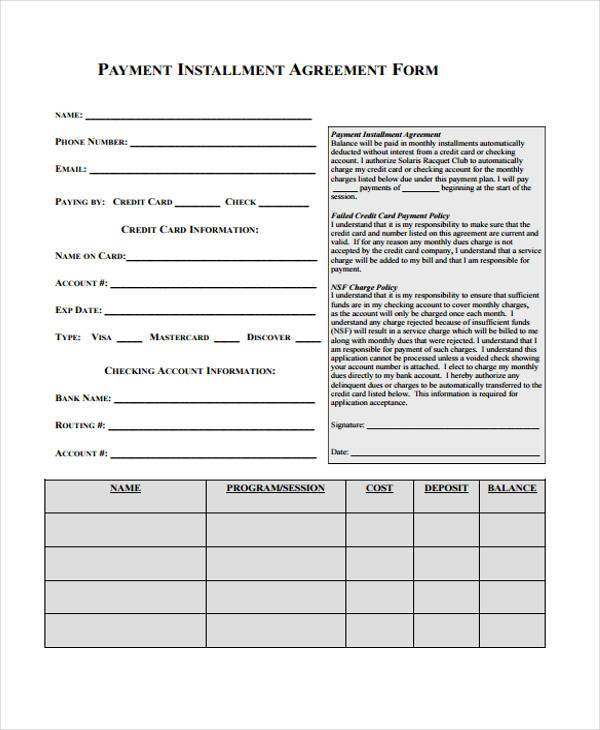 Installment Agreement Sample Forms  Free Sample Example