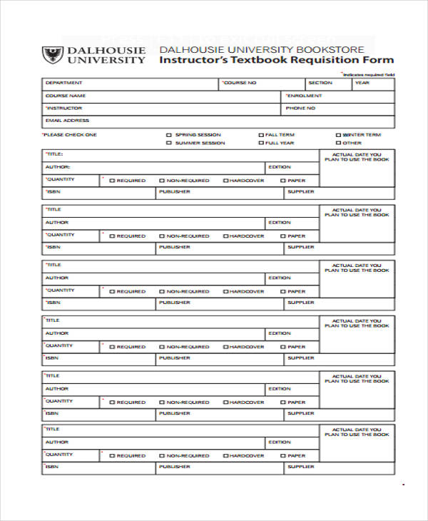instructors textbook requisition form