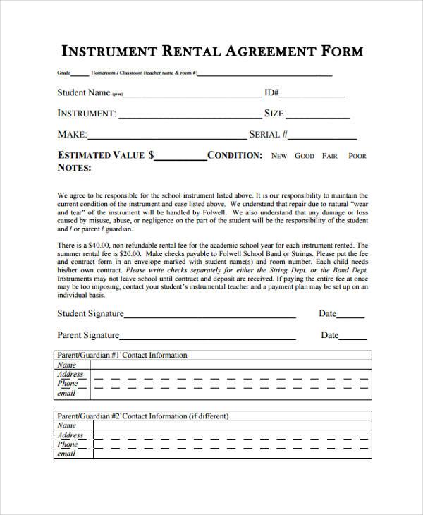 instrument rental agreement