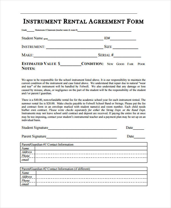 21 Sample Rental Agreement Forms