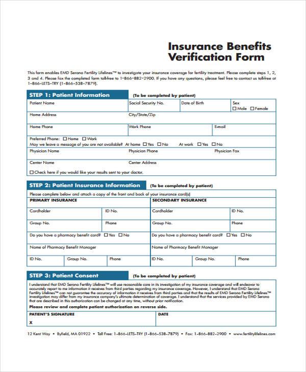 insurance benefits verification form1
