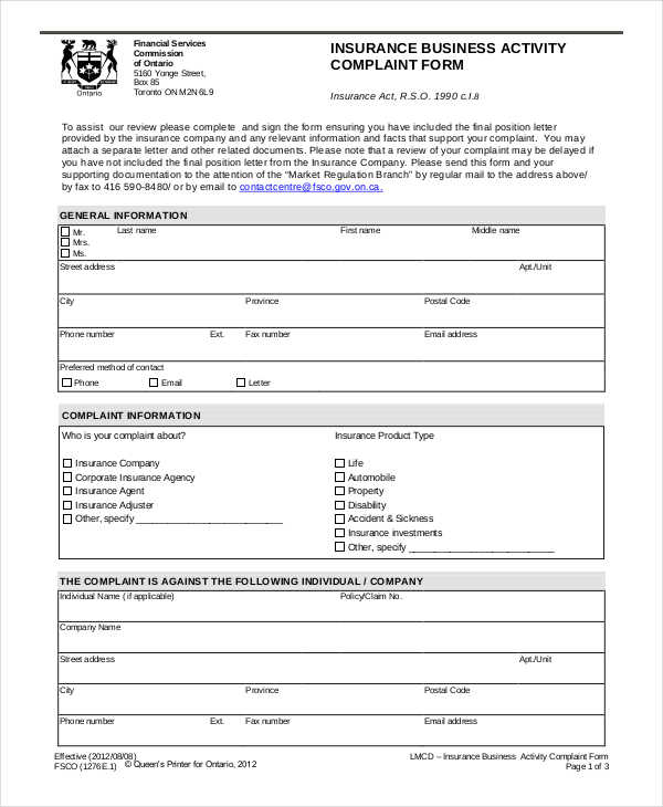 insurance business activity form