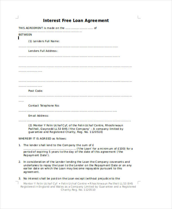 Interest Free Loan Agreement Sample