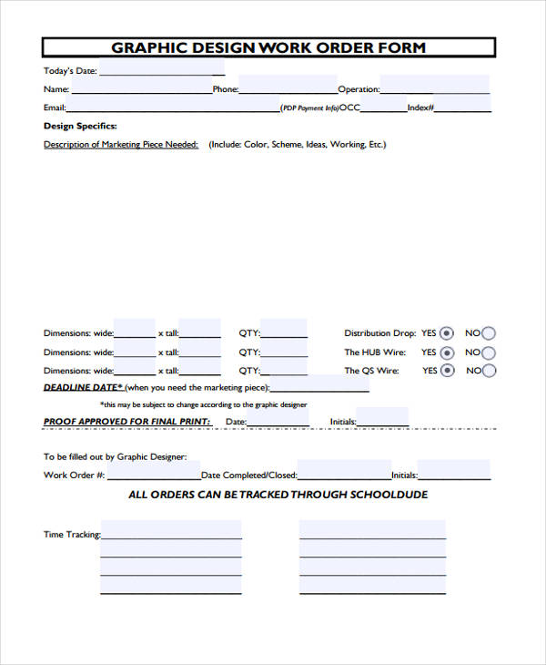 Free 20 sample work order forms in pdf doc - Form in interior design ...
