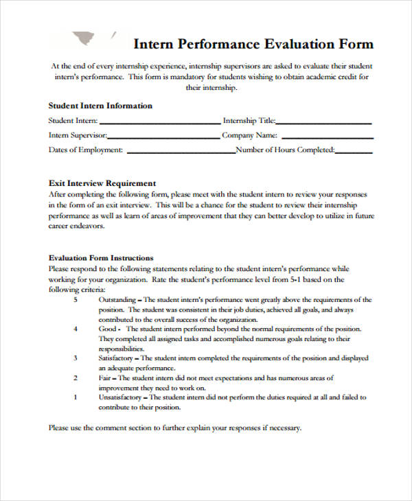 intern performance interview evaluation form
