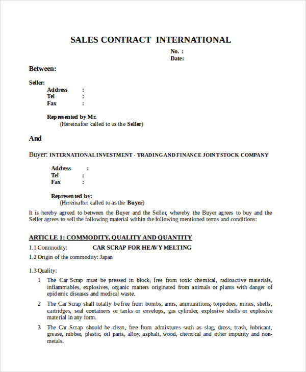 international contract form for sale