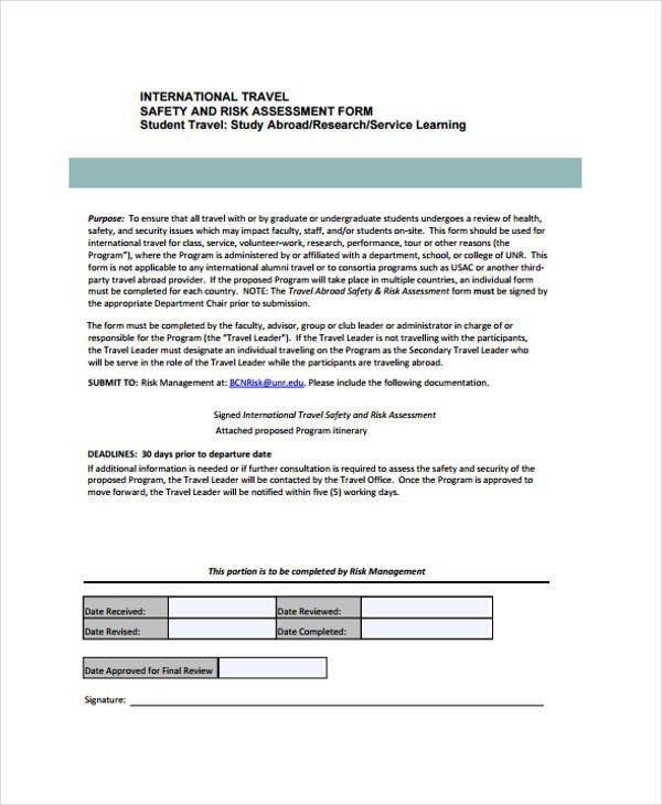 international travel risk assessment form