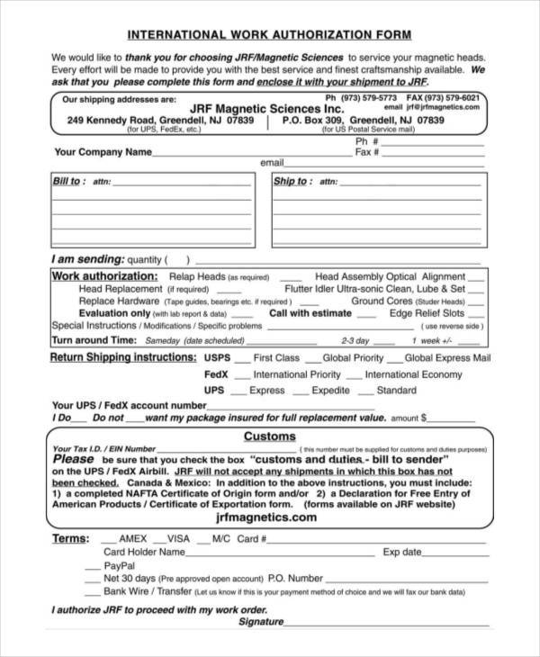 international work authorization form