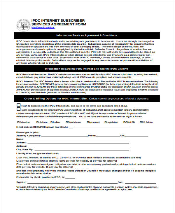 internet subscriber service agreement form