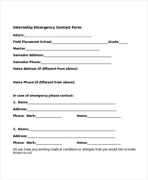 Free Emergency Contact Forms – Emergency Contact Forms