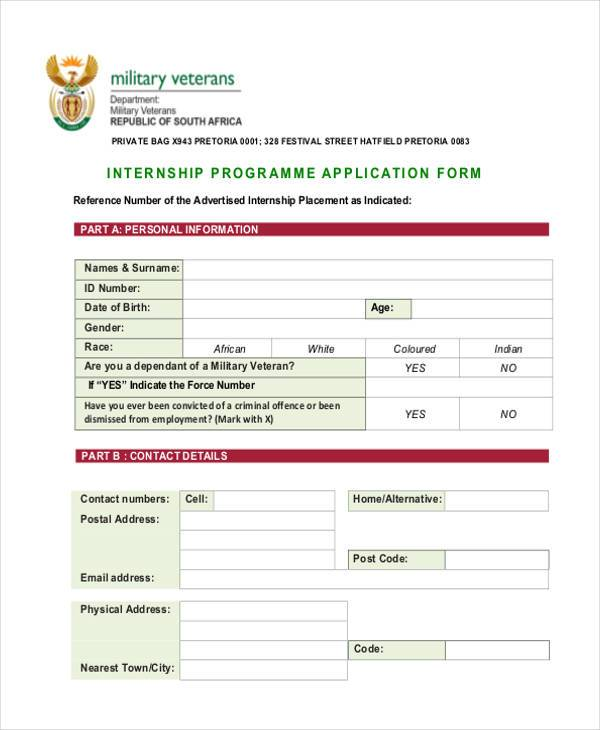 internship programmer application form