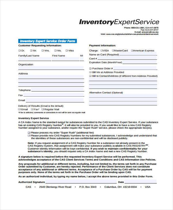 inventory expert service order form