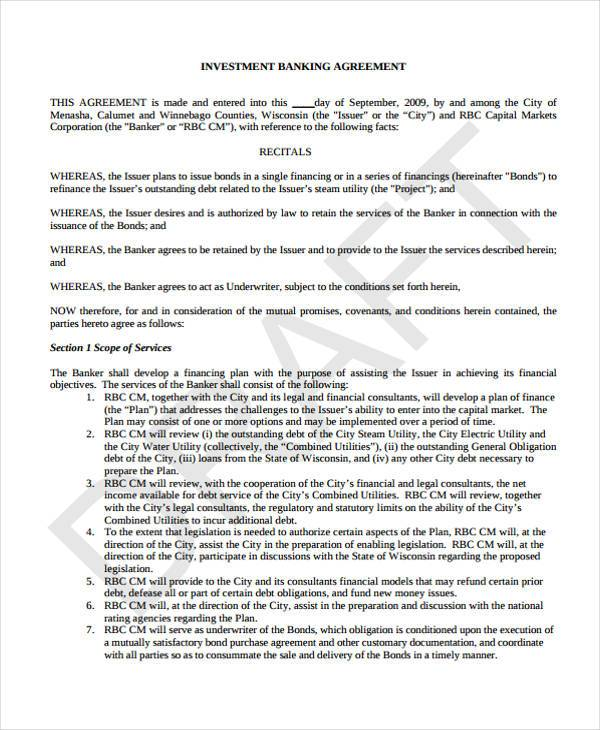 investment banking agreement form