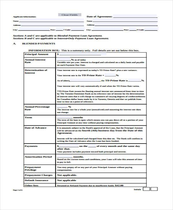 investment loan agreement form example