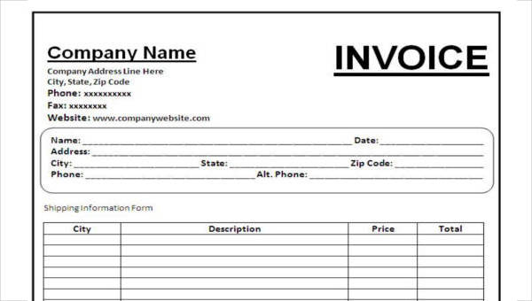 Free 35 Invoice Forms In Ms Word Pdf