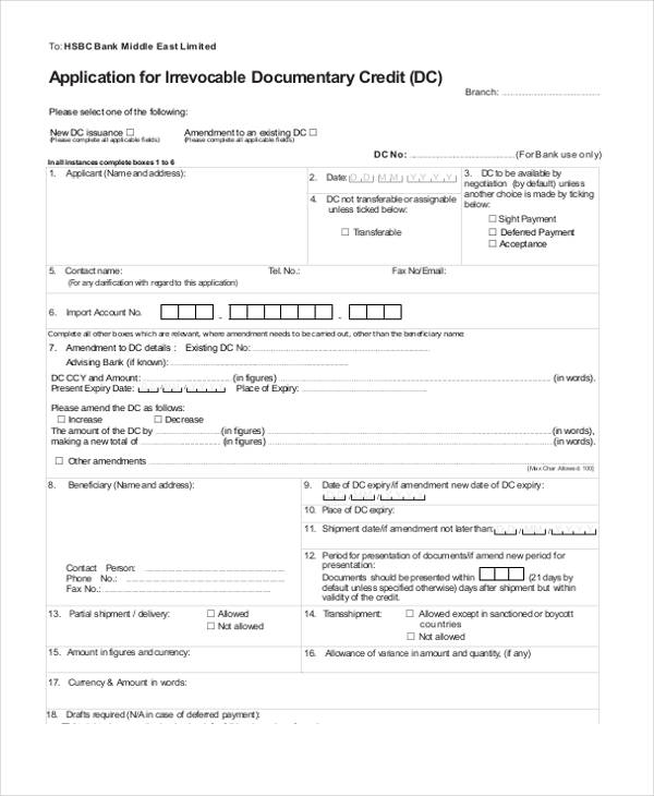 irrevocable documentary credit application form