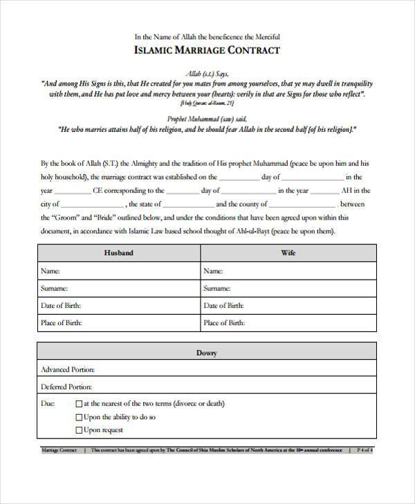 Sample Contract Forms - Contract form template