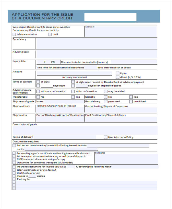 issue documentary credit application form1