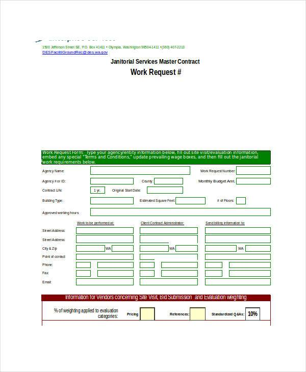 janitorial service request form