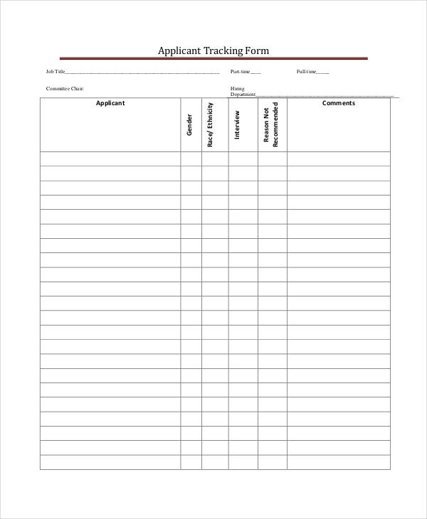 job applicant tracking form