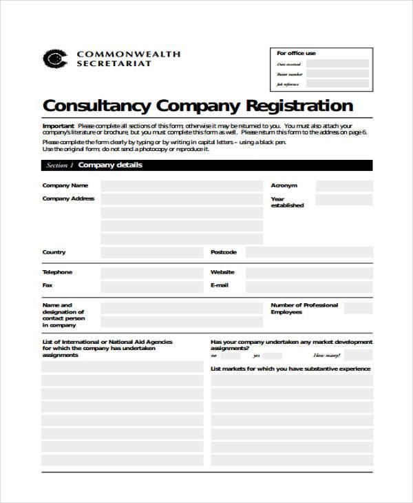job consultancy registration form