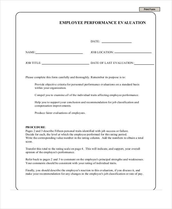 job employee performance evaluation form
