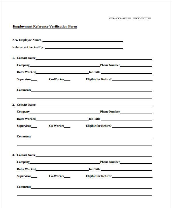 job employment verification form