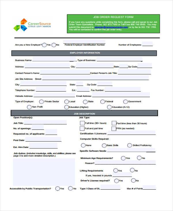 Sample Order Forms