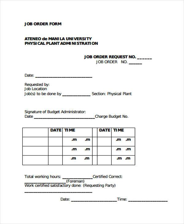 job order slip form