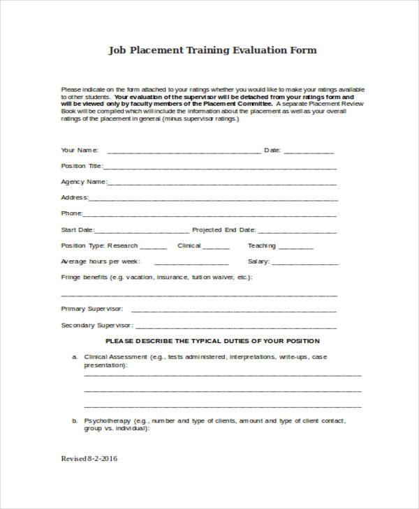 job placement training evaluation form