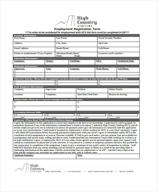 job portal registration form in pdf