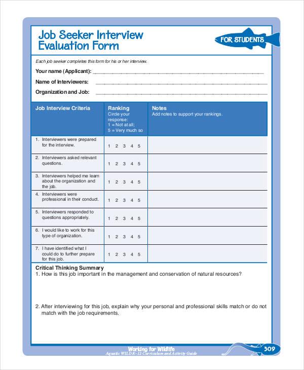 Job Seeker Interview Evaluation Form2