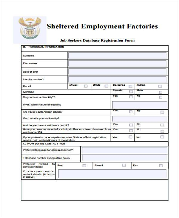 job seeker registration form