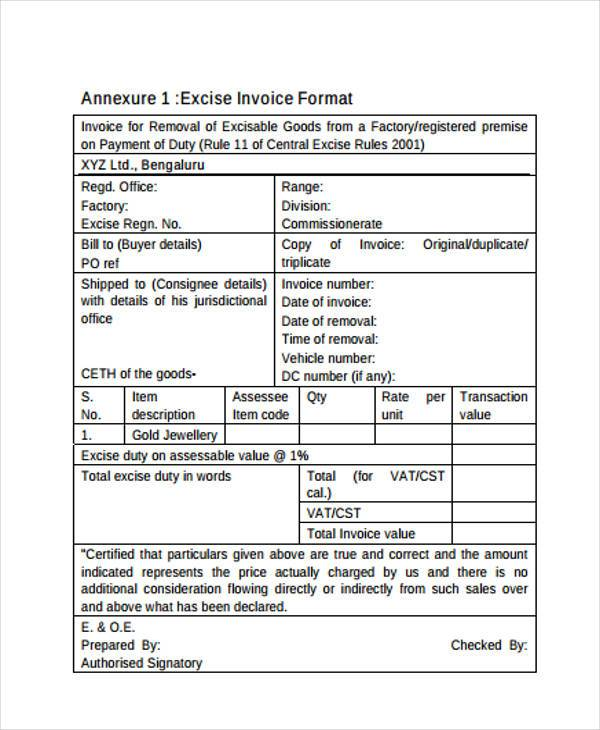 Job Work Invoice Format Download Gst Invoice Format For Job