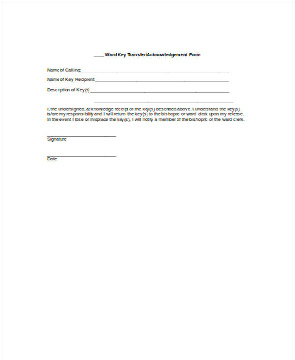 keys acknowledgement receipt form