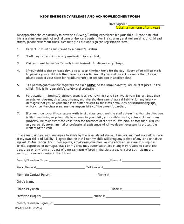 kids emergency acknowledgment release form