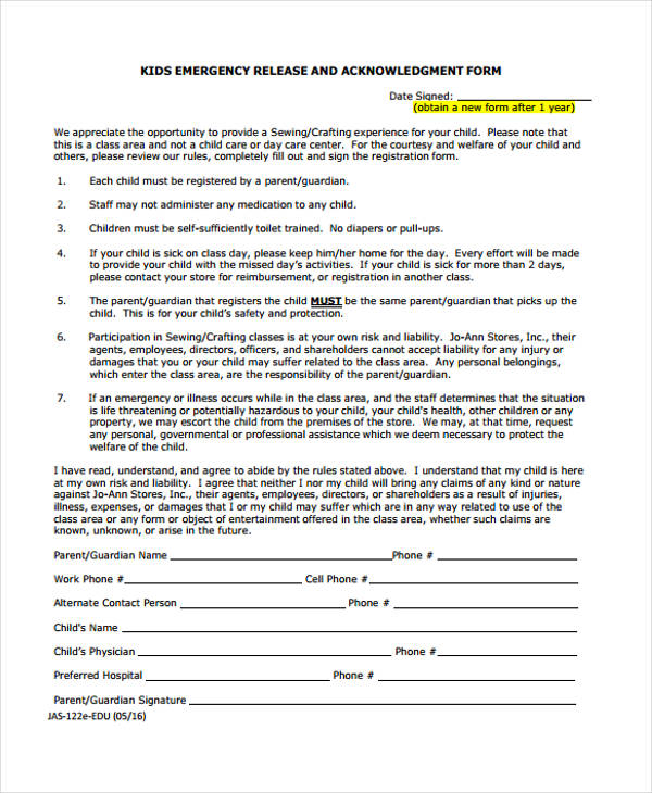 kids emergency release acknowledgement form