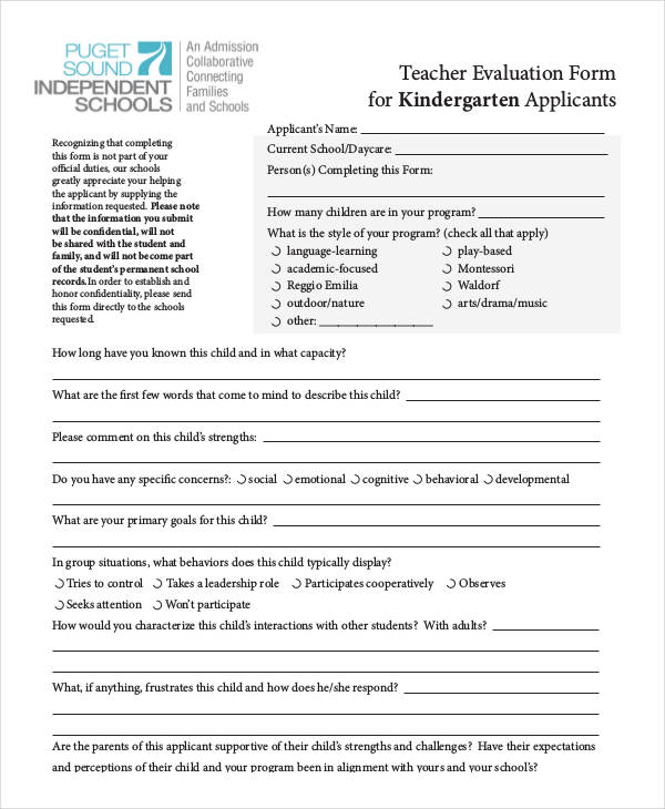 Kindergarten Teacher Self Evaluation Form2