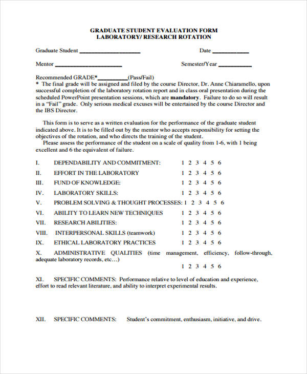 student evaluation forms