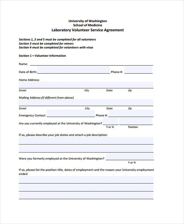 laboratory volunteer service agreement form