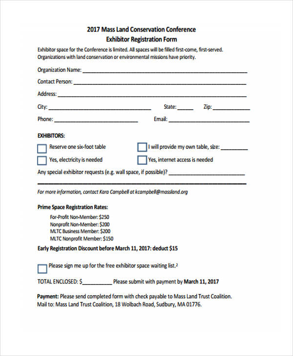land conference exhibitor registration form