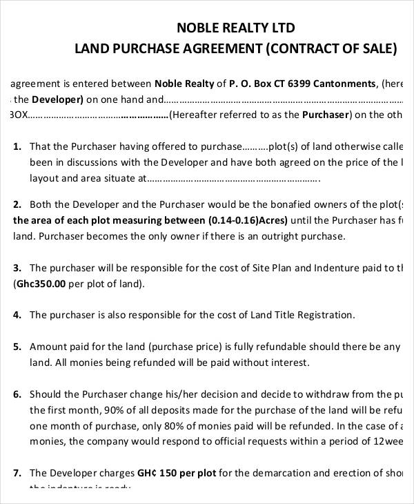 Land Contract Templates | 7 Land Purchase Agreement Form Samples Free Sample Example